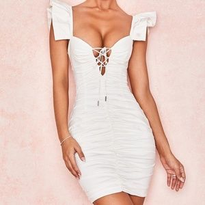 HOUSE OF CB KARA WHITE RUCHED COTTON RUFFLE DRESS